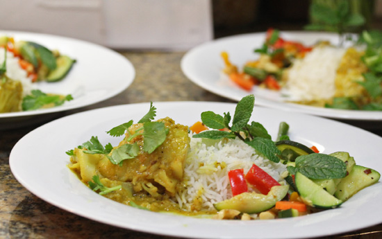 Balti Stir-fried Vegetables served with Basmati Rice and Fish Curry at our Indian Cooking Class.
