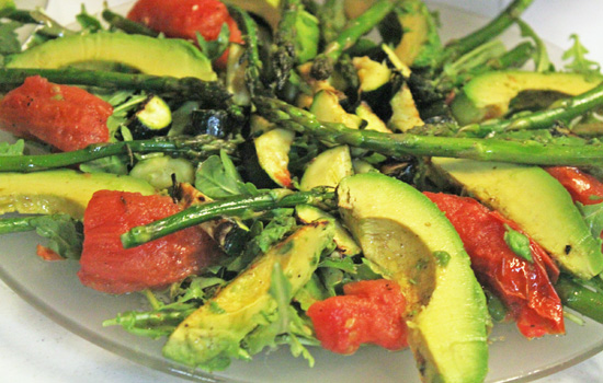 The Grilled Vegetable and Arugula Salad served a lot of people.