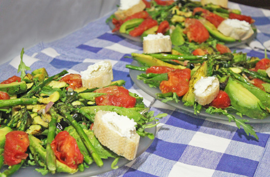 The Grilled Vegetable and Arugula Salad were artfully arranged by the team of Carolyn, Mike and Tracie.