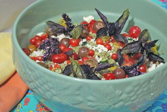 Garden Quinoa with Pesto Sauce from FreshFoodinaFlash.com.