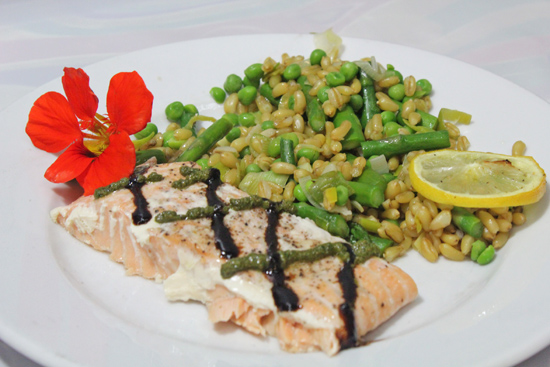 Salmon and Kamut with Asparagus, Peas and Roasted Lemon recipe from FreshFoodinaFlash.com.