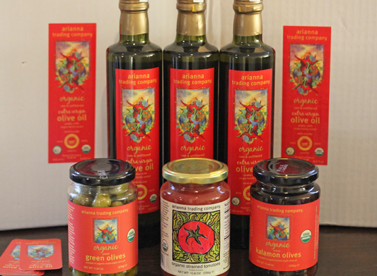 Arianna Trading Company Greek Olive Oil and olives on FreshFoodinaFlash.com