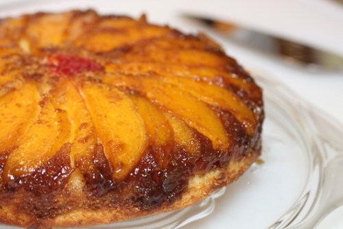 Mango Upside Down Cake with Cajeta-Rum Glaze