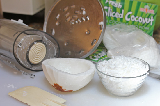 In about four minutes, you will have fresh shredded coconut.