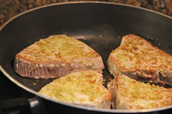 Sear the outside of the tuna steaks on high heat for only one minute per side.