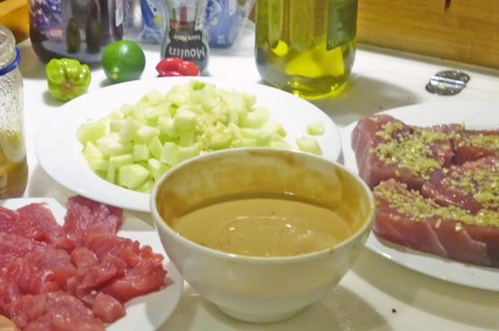 Lemon Grass-Crusted Tuna with Cucumber Salsa and Peanut Sauce recipe at FreshFoodinaFlash.com