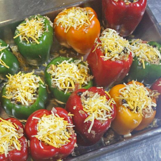 Mamacita's Vegetarian Stuffed Peppers recipe at FeshFoodinaFlash.com