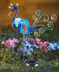Solar Lighted Peacock Decorative Metal Garden Stake ...