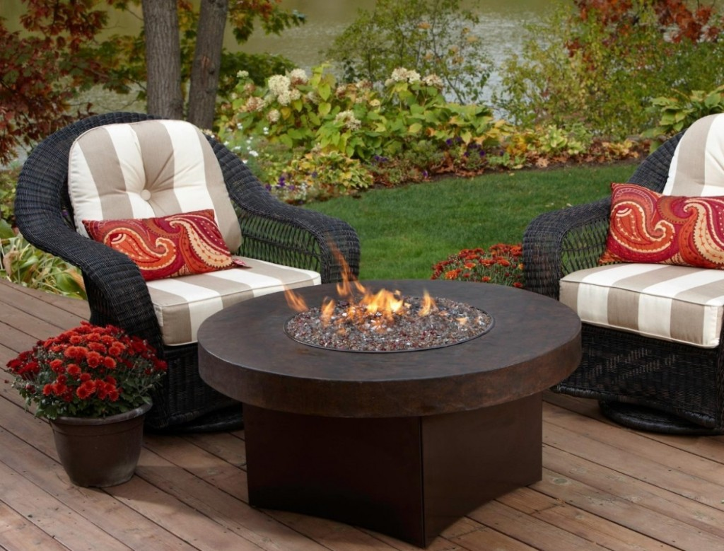 Oriflamme Savanna Stone Gas Fire Pit Table  Fresh Garden