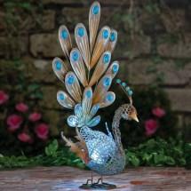 Solar Peacock Metal Sculpture Fresh Garden Decor