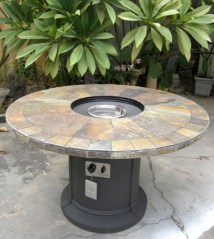 Outdoor Natural Slate Fire Pit Dining Table