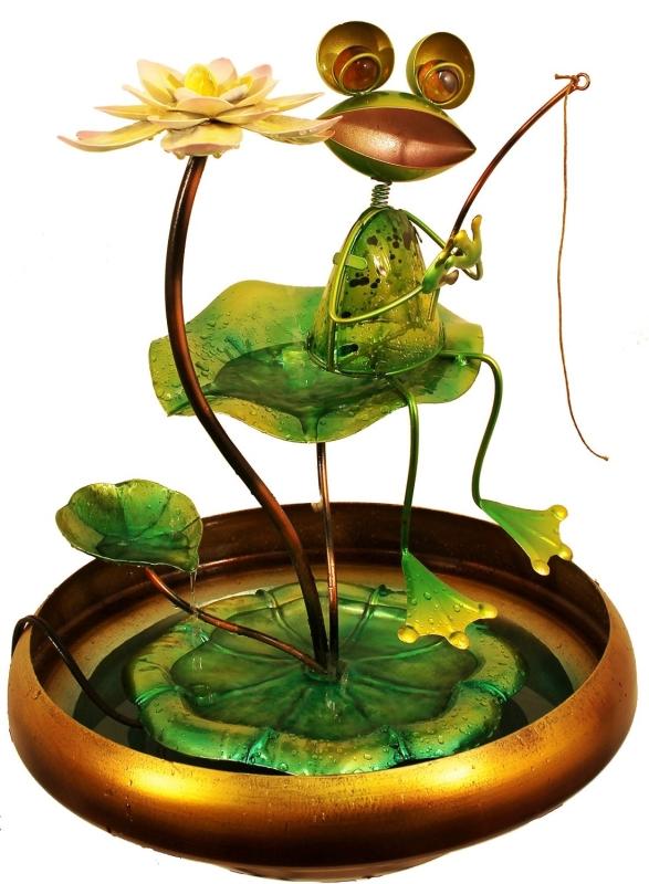Fishing Frog Water Fountain  Fresh Garden Decor