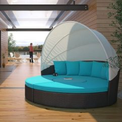 Canopy Daybed Outdoor Wicker Sun Sofa Lounge Platform Sectional Circular Rattan Patio With