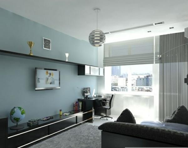 Blaue Wand Dekokissen Braune Farbe Sessel - Boisholz Wohnzimmer Schwarz Blau