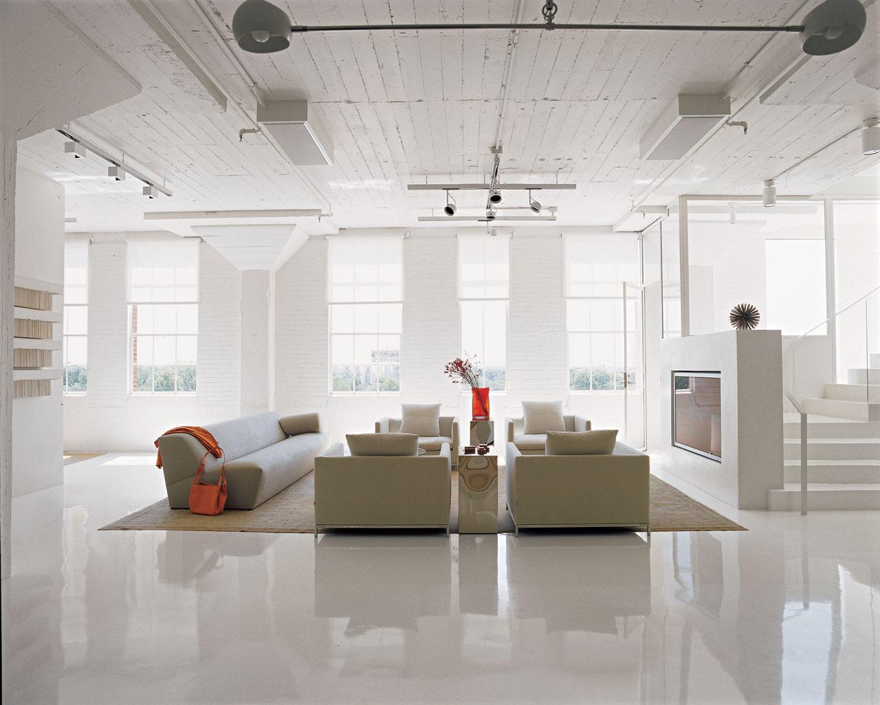 Weiss Ausstattung Idee Wohnzimmer Moebel Tisch