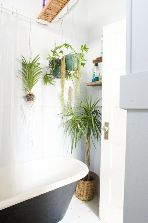 Badezimmer Design mit Blumen und Pflanzen  originelle Frhlingsideen