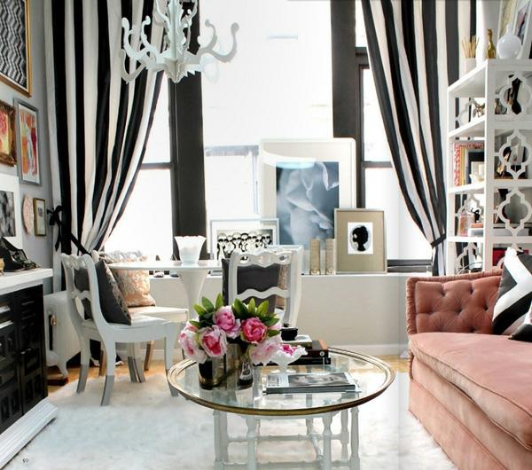 wohnzimmer mit streifen in weis und grau - enbois - Wohnzimmer Grau Rosa