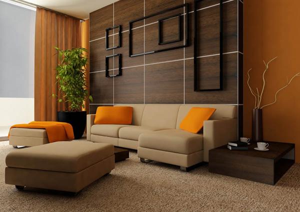 Orange Inneneinrichtung Ideen Wohnzimmer Kissen Deko Vorhang