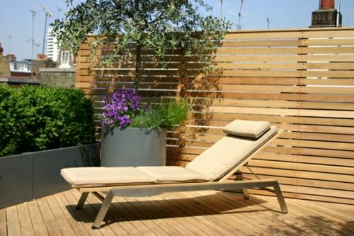 Balkon Sichtschutz Terrasse Beige Auflage Liege