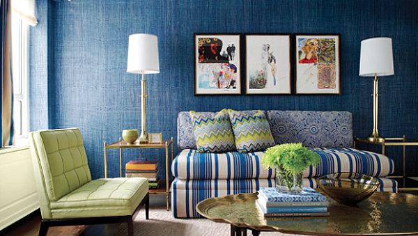 Blaue Farbpalette Im Lebhaften Interior Design Schickes