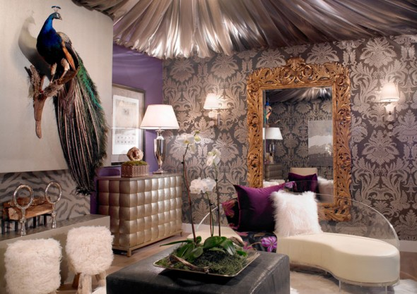 Pfauenfedern Deko im Wohnzimmer  Trends 2014