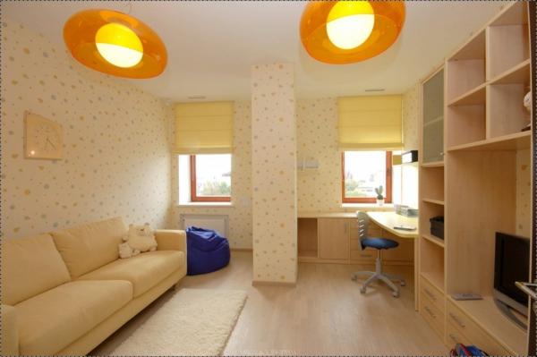 Wohnzimmer Deko Blasse Farben Lampenschirm Orange Plastik ... Wohnzimmer Deko Orange