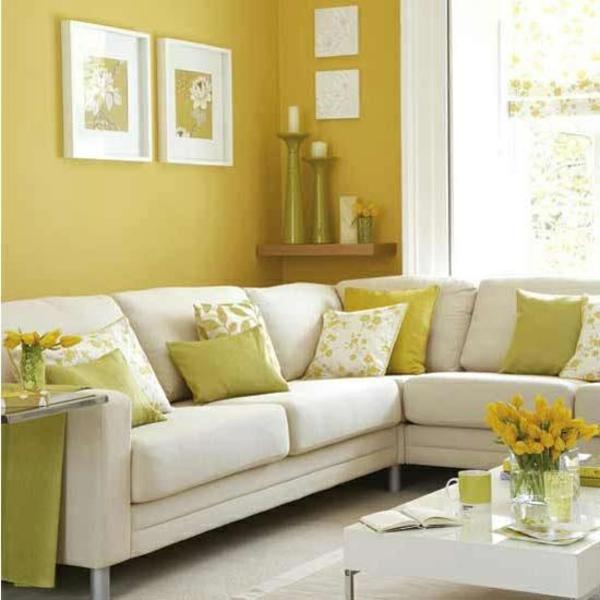 wandfarben ideen wohnzimmer gelb orange wei - boisholz - Gelb Grn Wandfarbe
