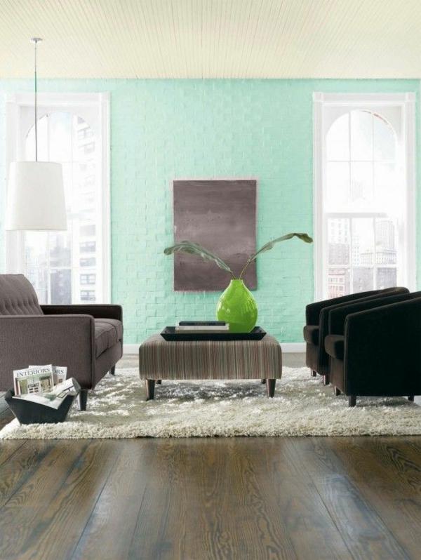 wandfarben wohnzimmer ideen wandgestaltung turkis wandfarbe - boisholz - Wandfarben Modern 2015 Blau