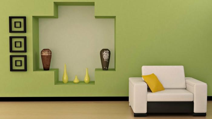 Wandfarben Ideen Wohnzimmer Grun - Boisholz