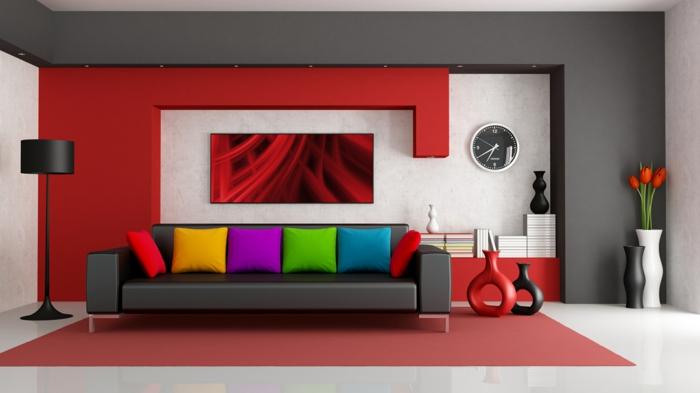 wandfarben wohnzimmer ideen wandgestaltung rote wandfarbe - boisholz - Dunkelrote Wandfarbe Fr Wohnzimmer