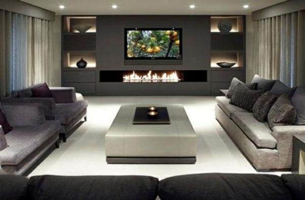 Wohnideen Moderne Gestaltung Kamin Grau Schwarze Mobel Dreiecktisch