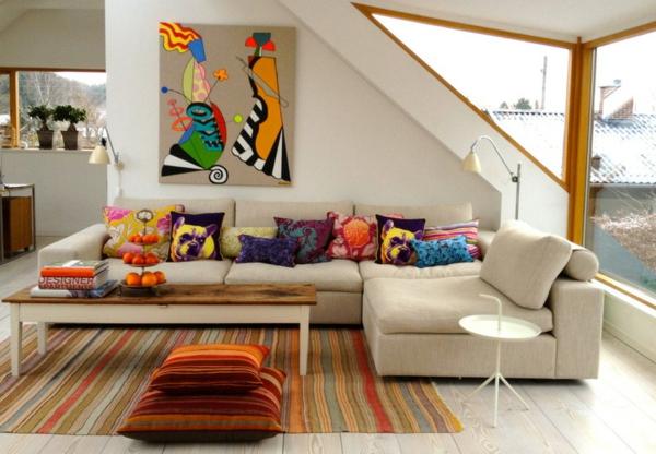 Wohnung einrichten Ideen  Vielfalt an Heimtextilien und