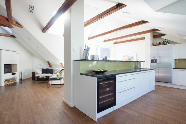 architektur dachwohnung einrichten inspirirende ideen - boisholz - Wohnzimmer Küche Zusammen