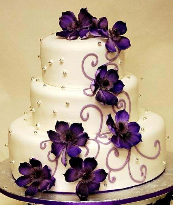 Lila Hochzeitstorte Ideen  violette und purpurrote Muster
