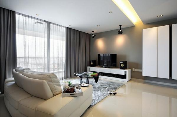 Modern Wohnzimmer Dunkle Gardinen Vorhange Coole Gardinen Ideen