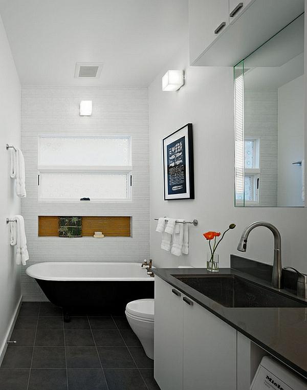 Badezimmer Ideen in SchwarzWei  45 inspirierende Beispiele