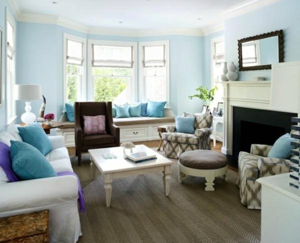 Farbbeispiele frs Wohnzimmer  krftige Farbgestaltung zu Hause