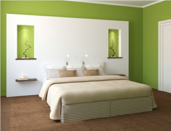 Wandfarbe in Grntnen  frische lebhafte Farbgestaltung