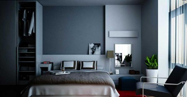 modernes haus wandfarbe schlafzimmer blauer teppich wohnzimmer ... - Wohnzimmer Einrichten Grau Blau