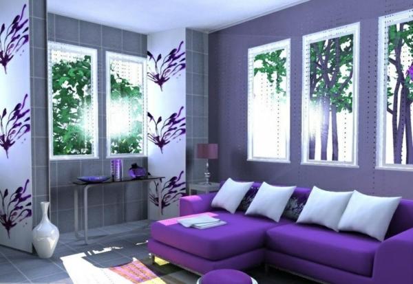 Wohnzimmer ideen wandgestaltung lila haus design ideen - Wohnzimmer violett braun ...