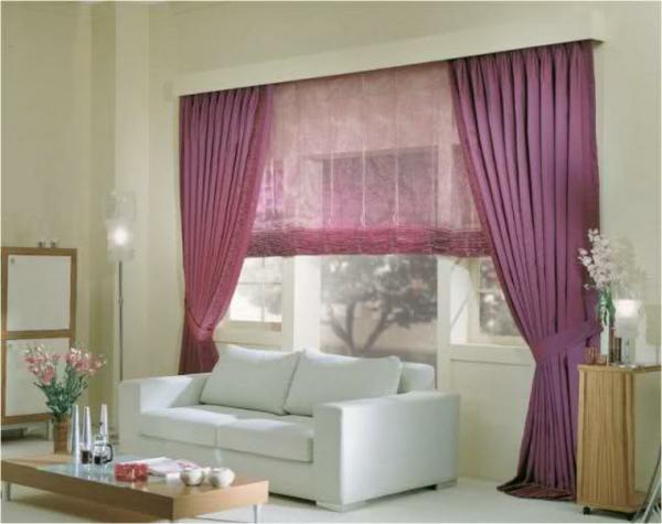 Wohnzimmer Ideen Gardinen Vorhange Lila Farben