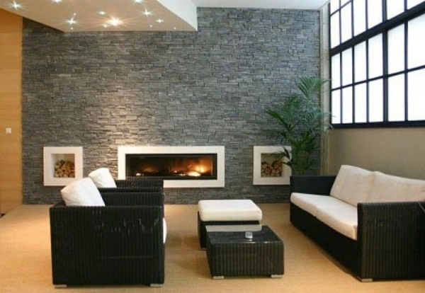 wandgestaltung wohnzimmer kamin - boisholz - Kamin Wandgestaltung