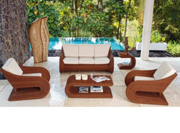 45 Outdoor Rattanmbel  modernes Gartenmbel Set und Lounge Sessel