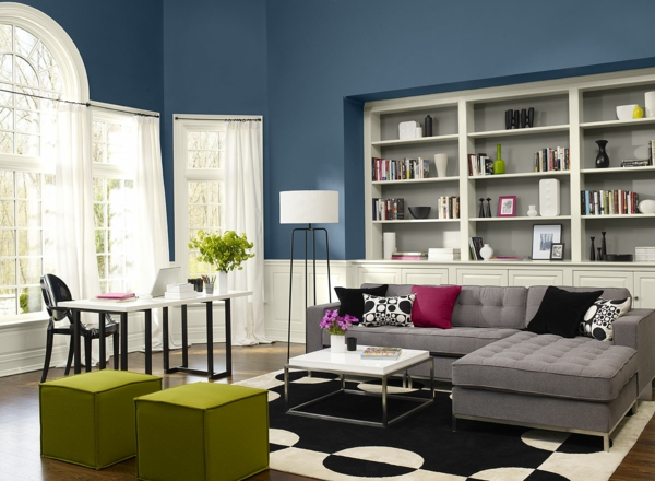 Emejing Wohnzimmer Ideen Wandgestaltung Blau Contemporary ... Wandgestaltung Wohnzimmer Blau