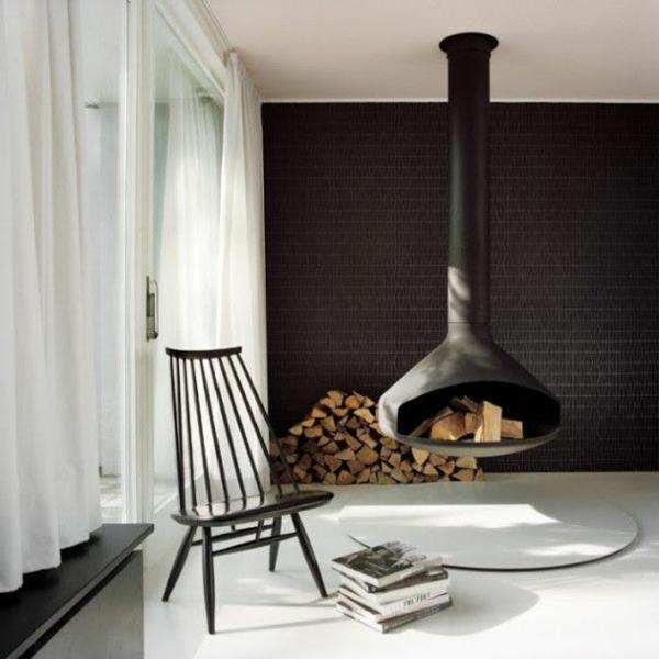 Hngender Kaminofen  moderne Luxus Kamine