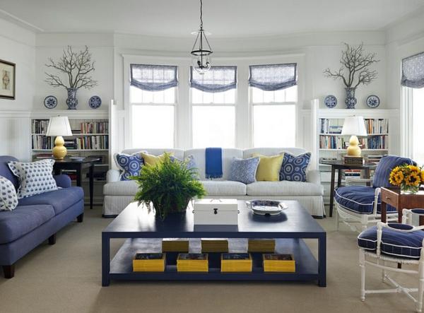 wohnzimmer gelb blau