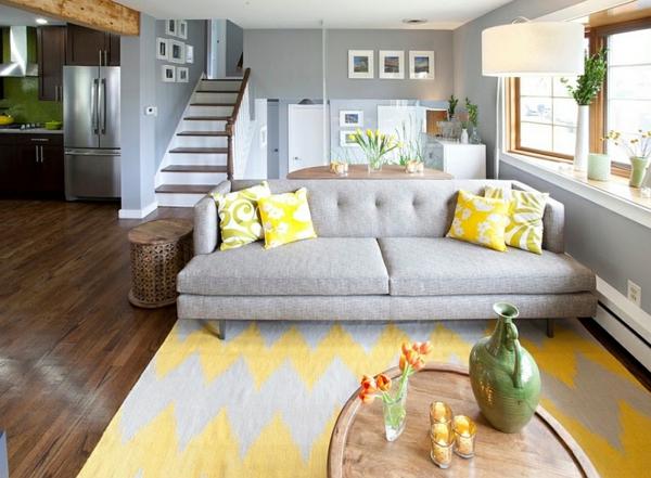 Wohnzimmer Farbgestaltung  Grau und Gelb als Farbkombination