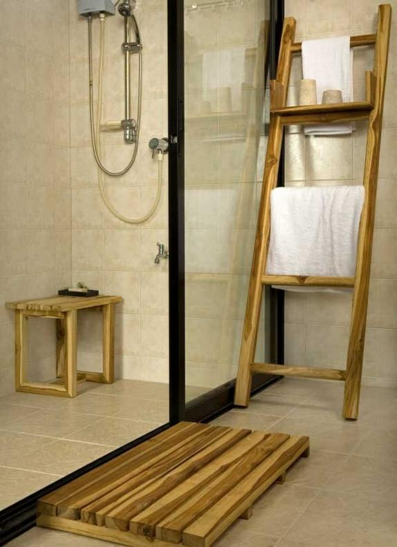 Handtuchleiter Holz  35 reizende Badezimmer im Landhausstil