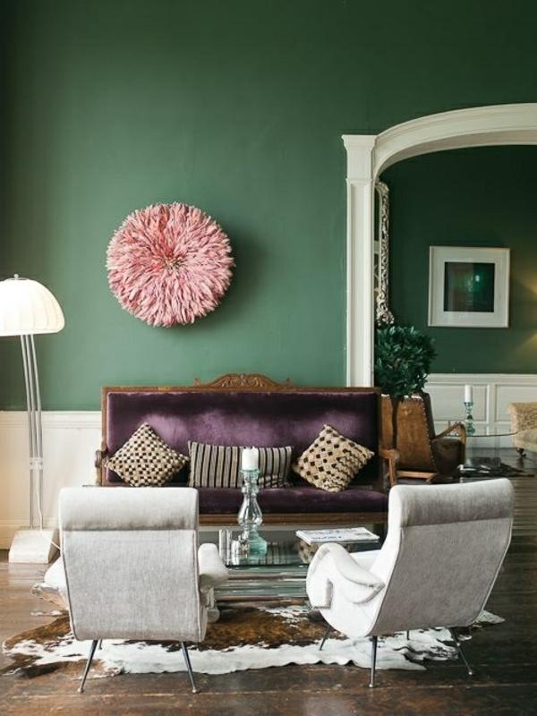 Zimmer Farbgestaltung  frisches Salbeigrn im Innendesign