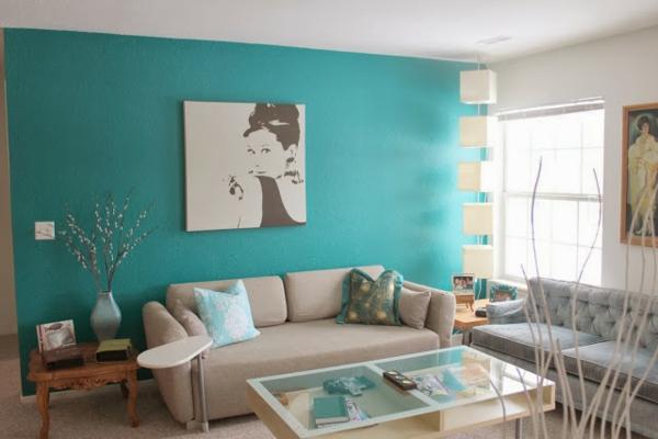 Wandfarben Wohnzimmer Ideen Wandgestaltung Turkis Wandfarbe - Boisholz Wohnzimmer In Braun Und Turkis